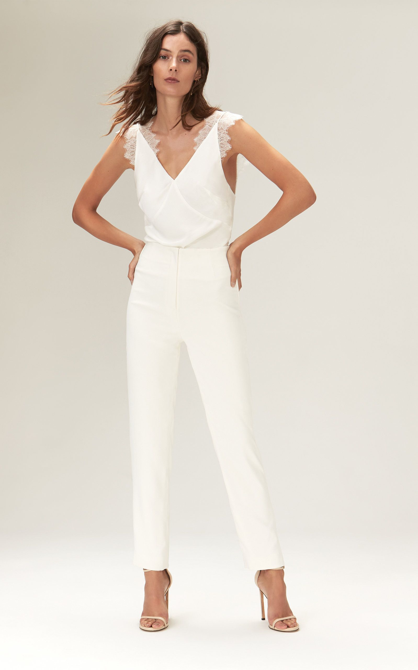 5134b3b7ab96 Lorraine Crepe Bodysuit With Chantilly Lace Straps by SAVANNAH MILLER for  Preorder on Moda Operandi