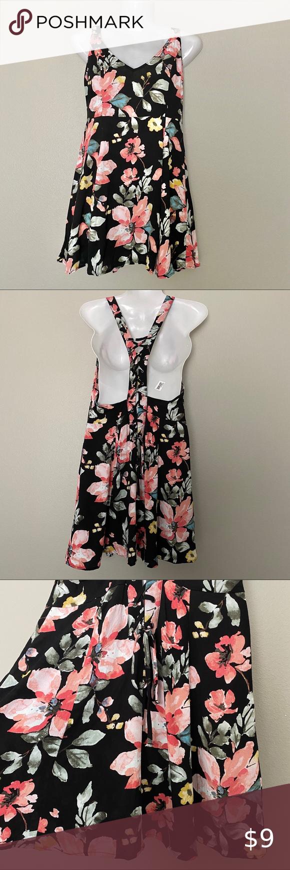 Forever 21 Black Pink Floral Sleeveless Dress Beautiful Black Dresses Sleeveless Floral Dress Floral Dress Black [ 1740 x 580 Pixel ]