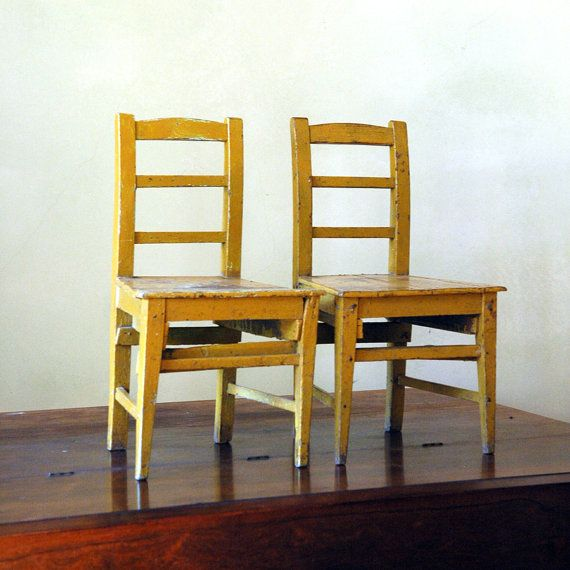 RESERVE Antique Wood Children's Chairs // The Yellow Pair ...