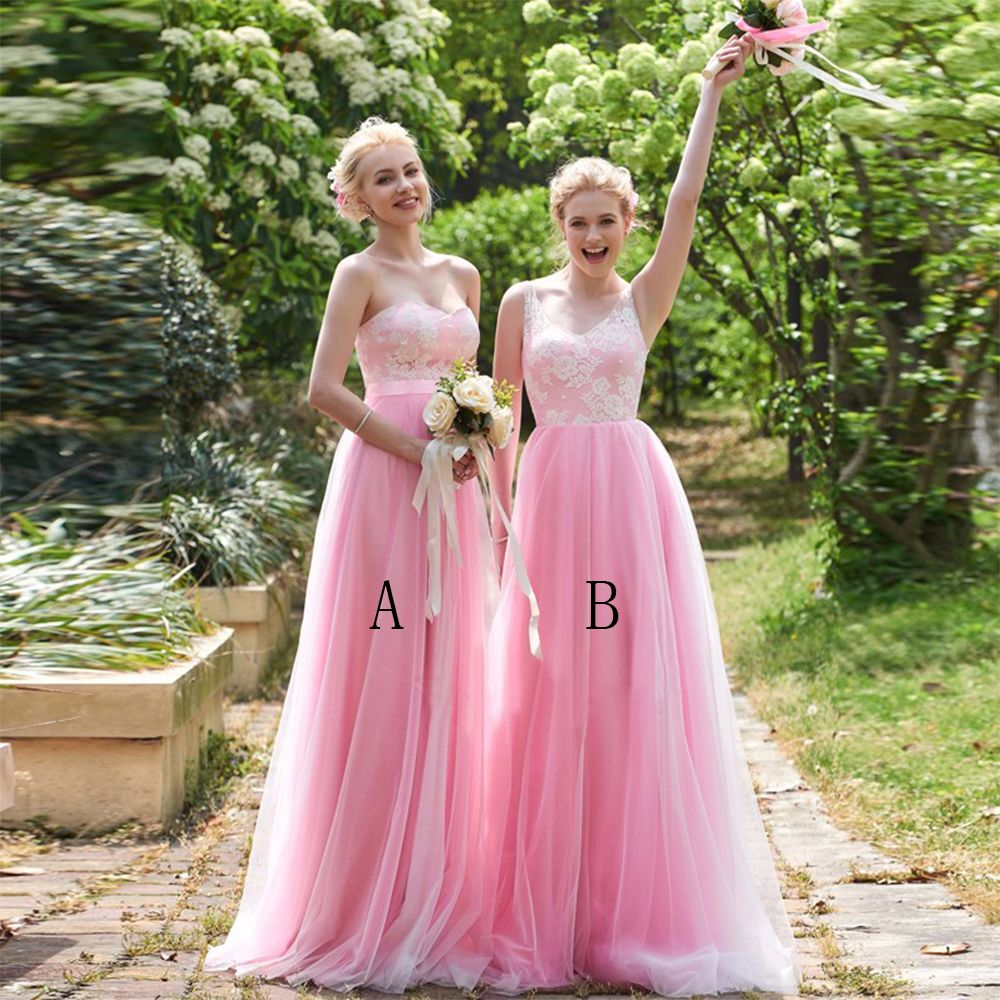 Find a Pretty Long Pink Bridesmaid Dress Lace Tulle Bridesmaid Dress ...