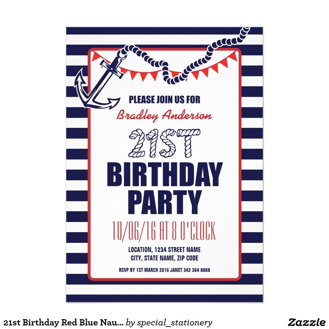 21st Birthday Red Blue Nautical Anchor Party Invitation | Birthday ...