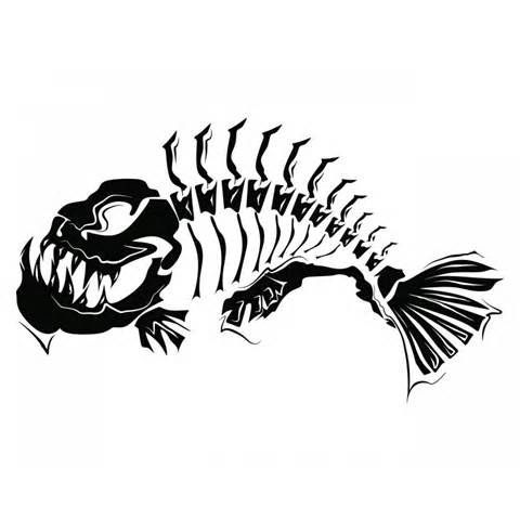 Large Size Skeleton Tribal Fish Tatuajes De Animales