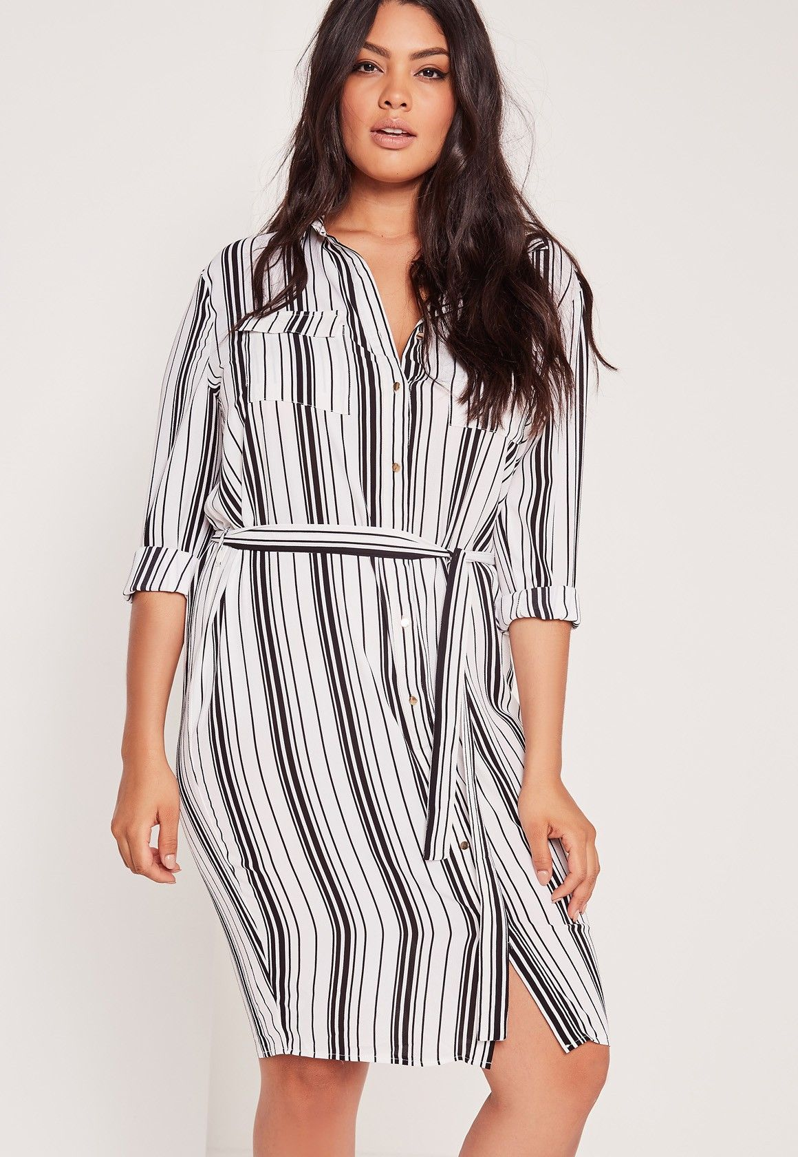 6db06c4a6459 Missguided - Plus Size Stripe Belted Shirt Dress White