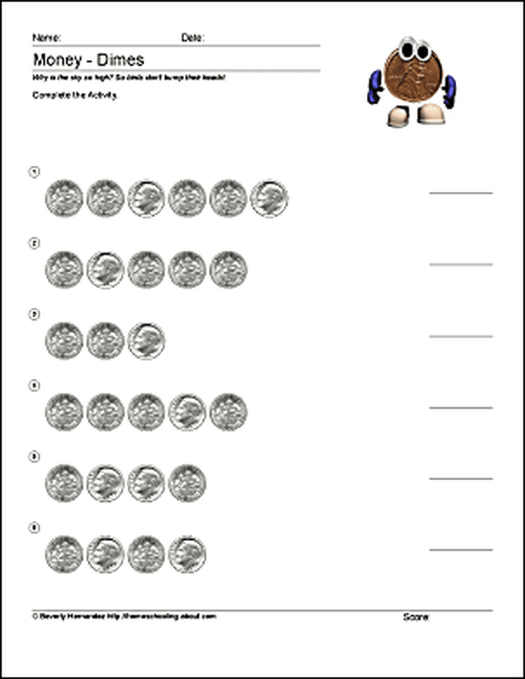 Math And Money Worksheets For Counting Coins Money Worksheets Pennies Worksheets Counting Dimes