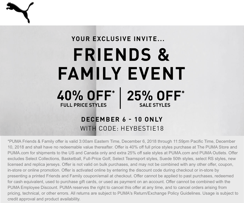 e02c9c1d7447d0 Pinned December 8th  40% off at  Puma or online via promo code HEYBESTIE18   TheCouponsApp