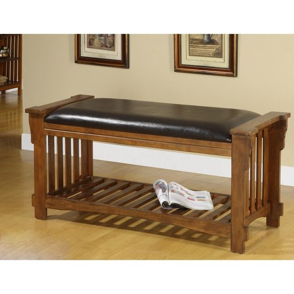 Furniture of America Slats Vanity Bicast Leather Antique Oak Wood Bench