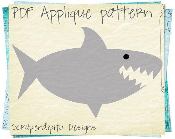 Shark Applique Template - Baby Quilt Applique Pattern / PDF Toddler ...