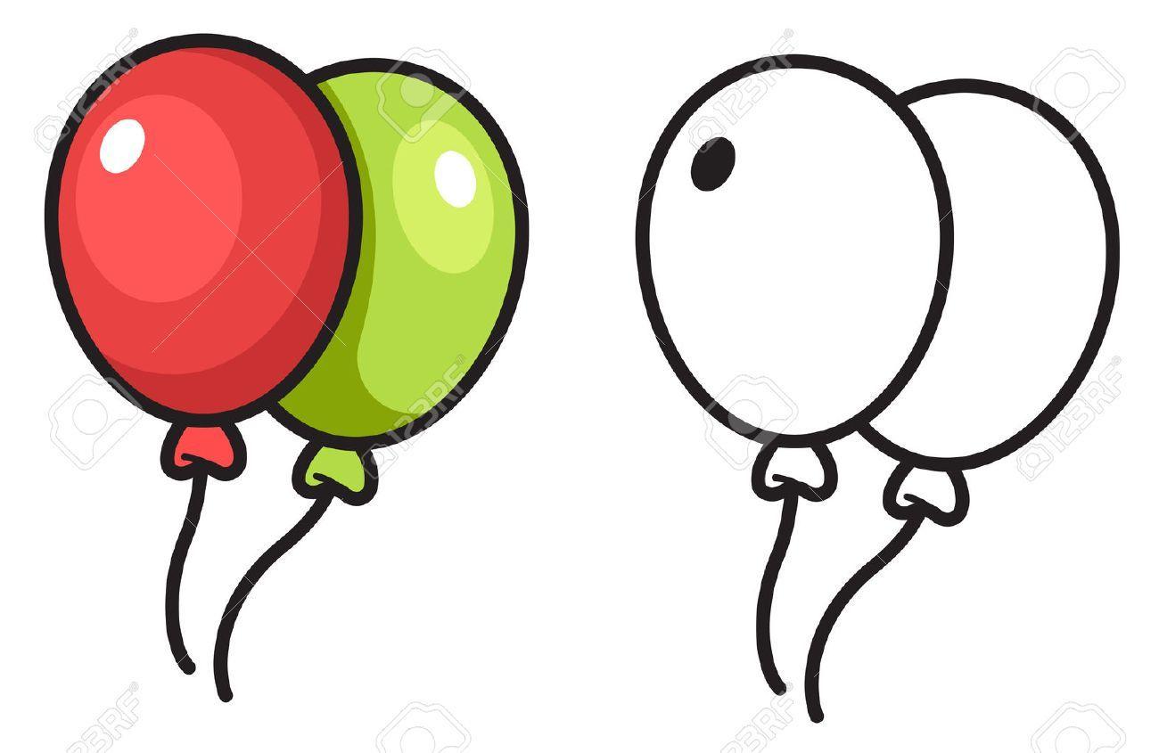 Illustration De Isole Ballon Colore Et Noir Et Blanc Pour Livre De