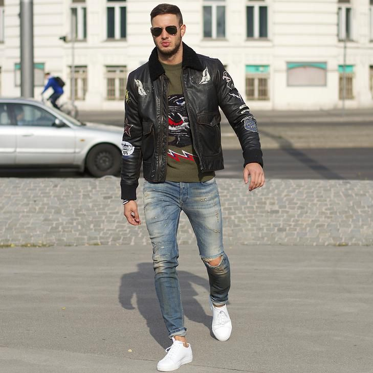 Jeans And White Shoes Leather Jacket Outfit Men Mens Jackets Casual Mens Outfits