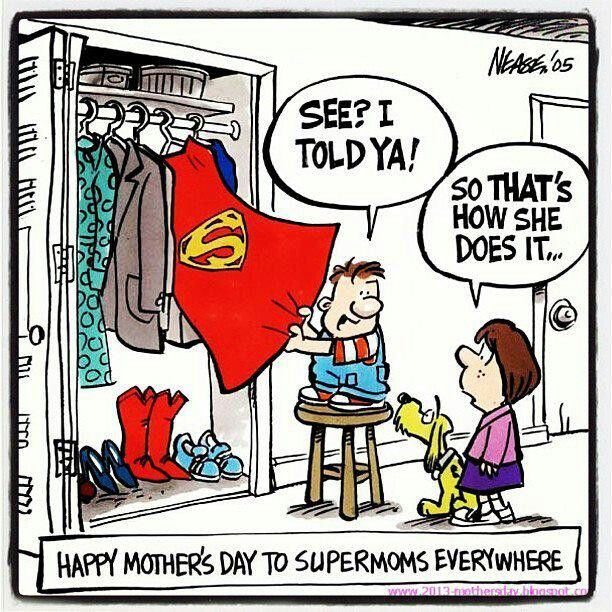 Supermom Mothers Day Cartoon Happy Mother S Day Funny Happy Mother Day Quotes