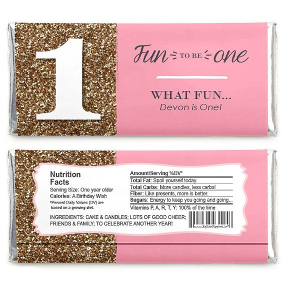 Fun To Be One 1st Birthday Girl Candy Bar Wrappers First Birthday Party Favors 24 Count Fun To Be One First Birthday Party Favor Candy Birthday Party