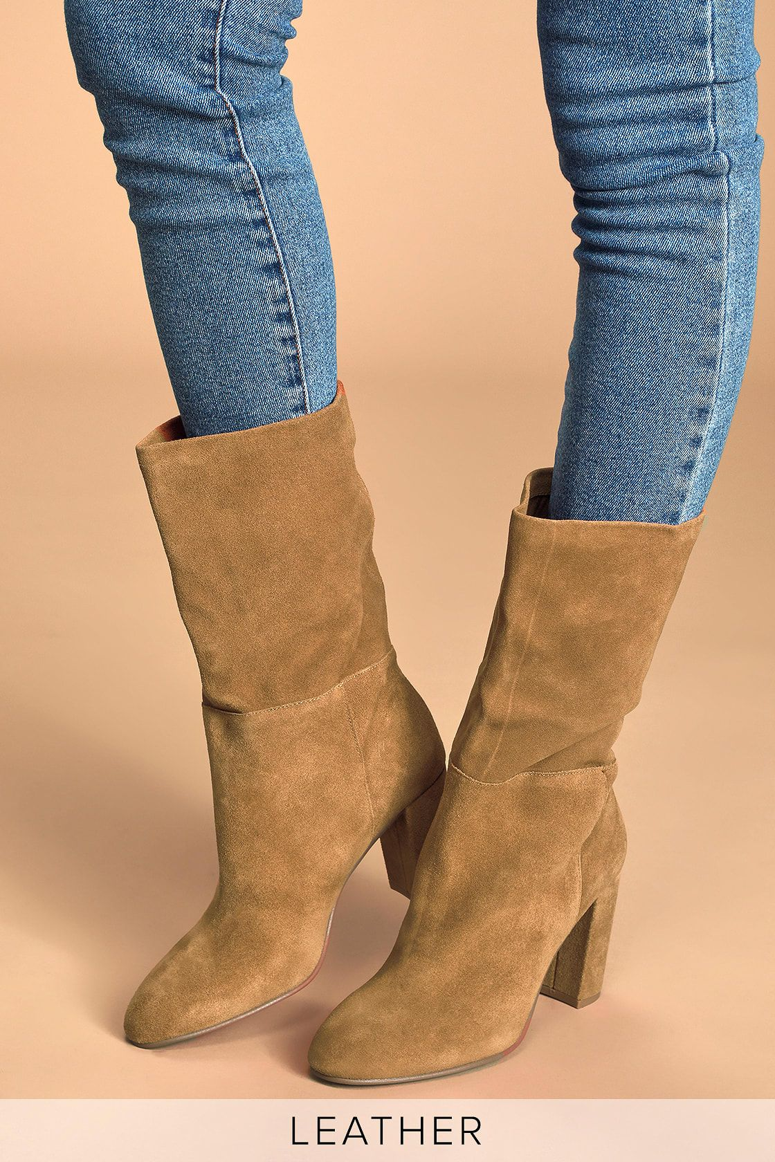Keep Up Honey Brown Suede Leather Mid Calf High Heel Boots High
