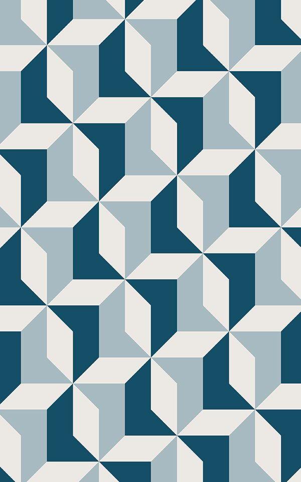 Papier Peint Géométrique Bleu Abstrait | Hovia FR