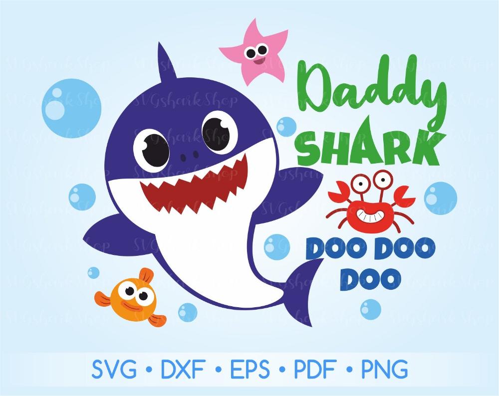Daddy Shark Svg File Daddy Shark Printable Daddy Shark Dxf Etsy Shark Theme Birthday Baby Shark Shark Themed Birthday Party