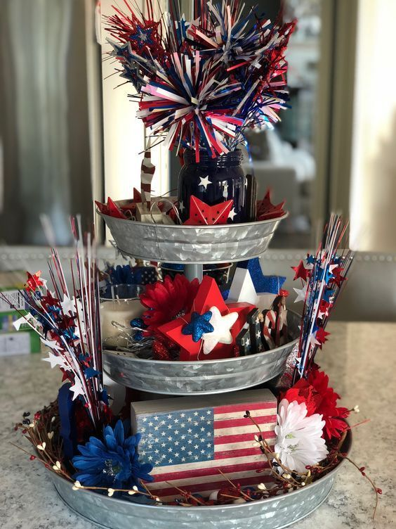 40+ Best 4th of July Party Ideas to make Patriotic Day 2019 a memorable one - Hike n Dip #tieredtraydecor