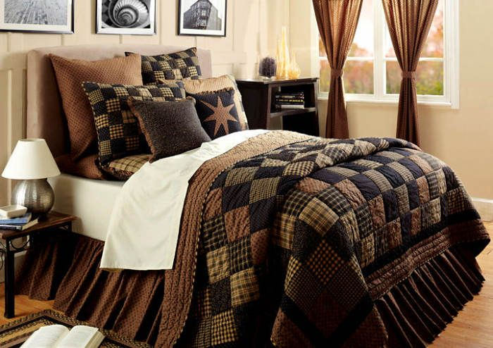 Primitive bedding on pinterest country bedding for Bedroom quilt ideas