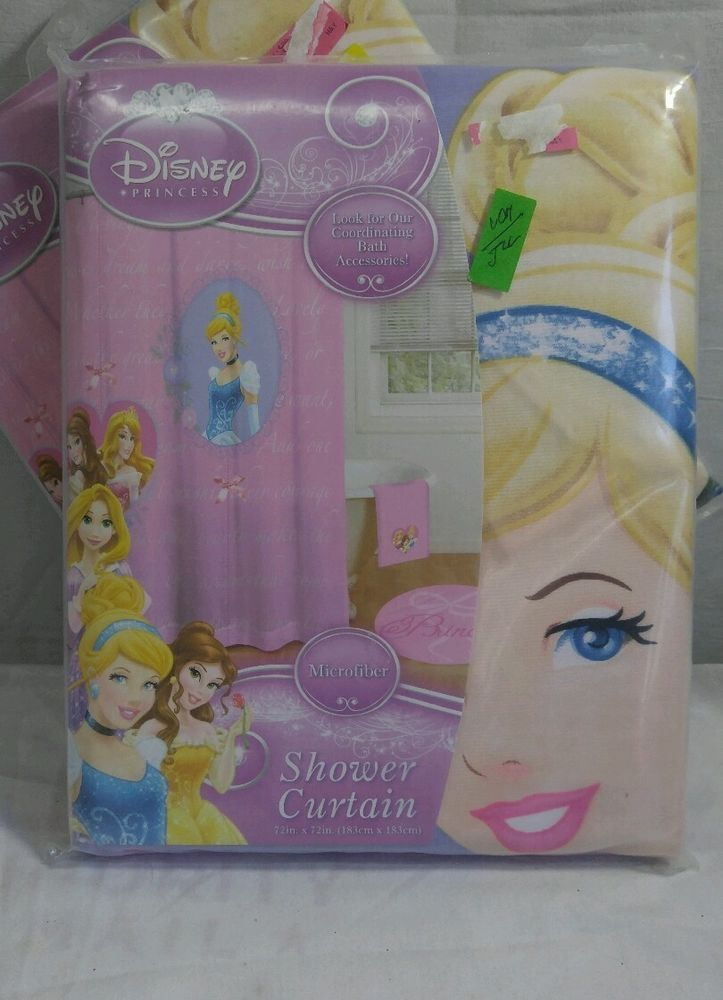 Disney Princess Microfiber Timeless Elegance Shower Curtain Pink New TimelessElegance