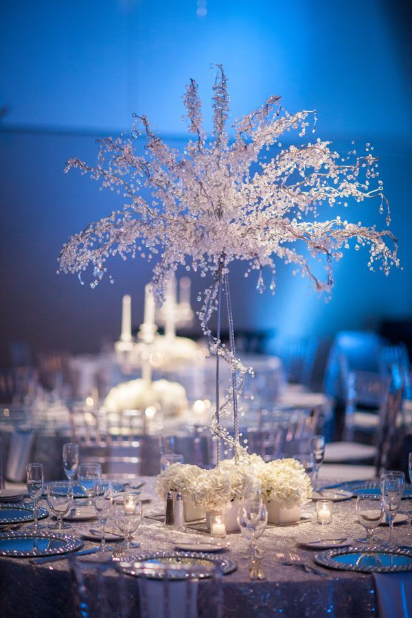 White Silver Blue Winter Wonderland Wedding At A La Carte
