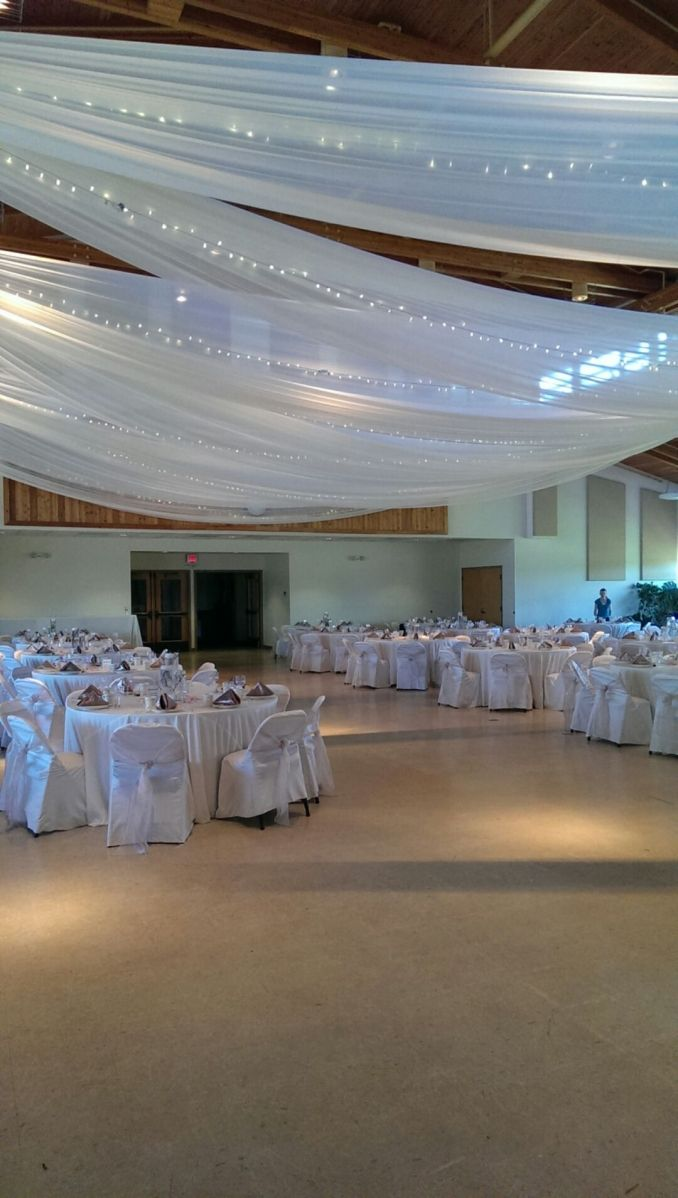 chair covers michaels dining room set white with organza sashes loop tie linens ceiling drape square table mirrors and 8 10 14 cylinder vases
