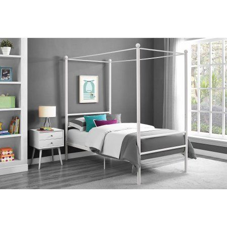 Canopy Bed - Moder Design Canopy Bed Made of Metal Twin, White -- To ...