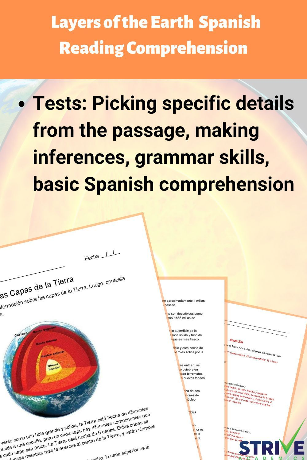 Layers Of The Earth Spanish Reading Comprehension Worksheet In 2021 Reading Comprehension Spanish Reading Comprehension Reading Comprehension Worksheets [ 1500 x 1000 Pixel ]
