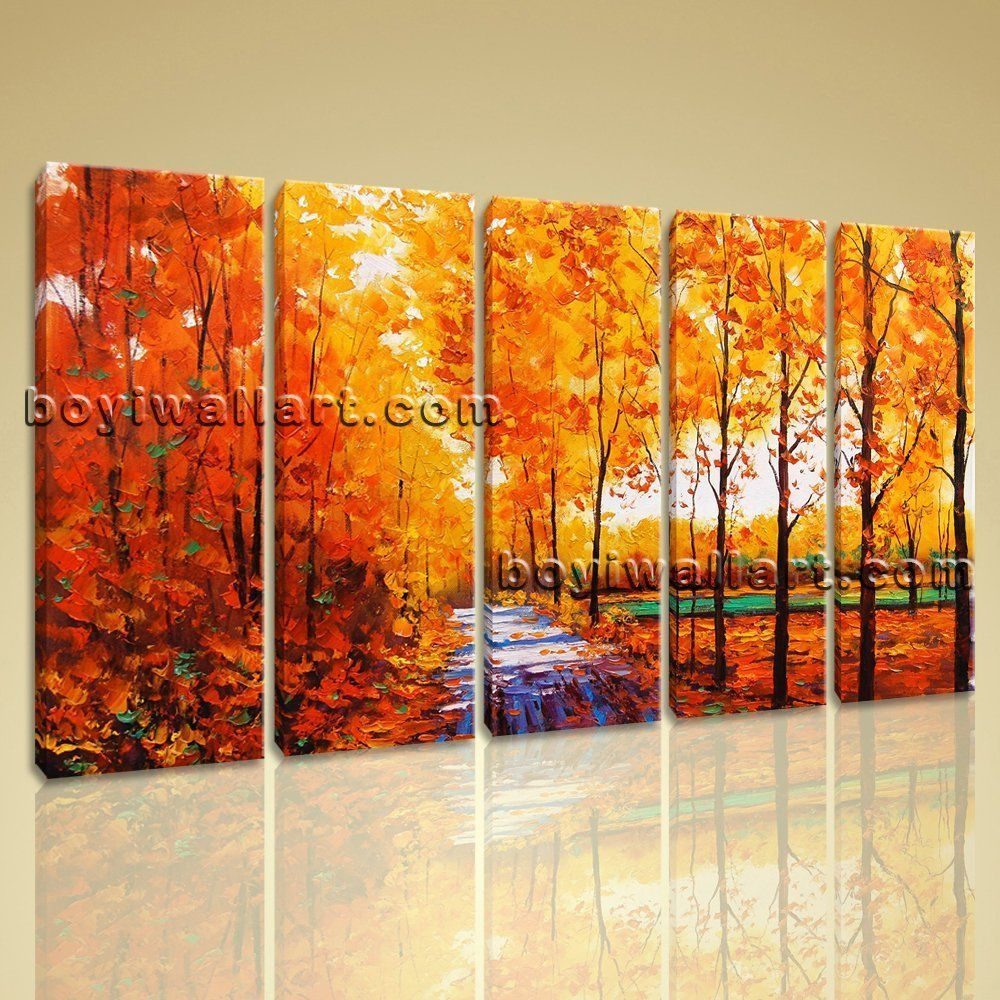large autumn river landscape contemporary on canvas wall art
