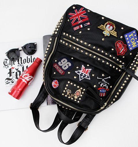 Korea Leather Bag Shopping Mall [BAGSHOES] #koreafashionshop #Fashionwomen  #korea #dailylook #dailyfashion #dailybag #motorbag #calfskinbag #sheepskinbag #leatherbag #syntheticbag #wallet #acc #shoes #mensbag #clutch #backpack #crossbag #totebag #koreafashion  #backpack #皮包 #バックパック POP-PIN BACK PACK / Size : FREE / Price : 61.67 USD