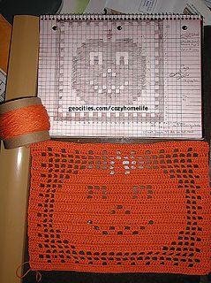 Ravelry: Filet Crochet Pumpkin Mat pattern by Cozyhomelife #filetcrochet
