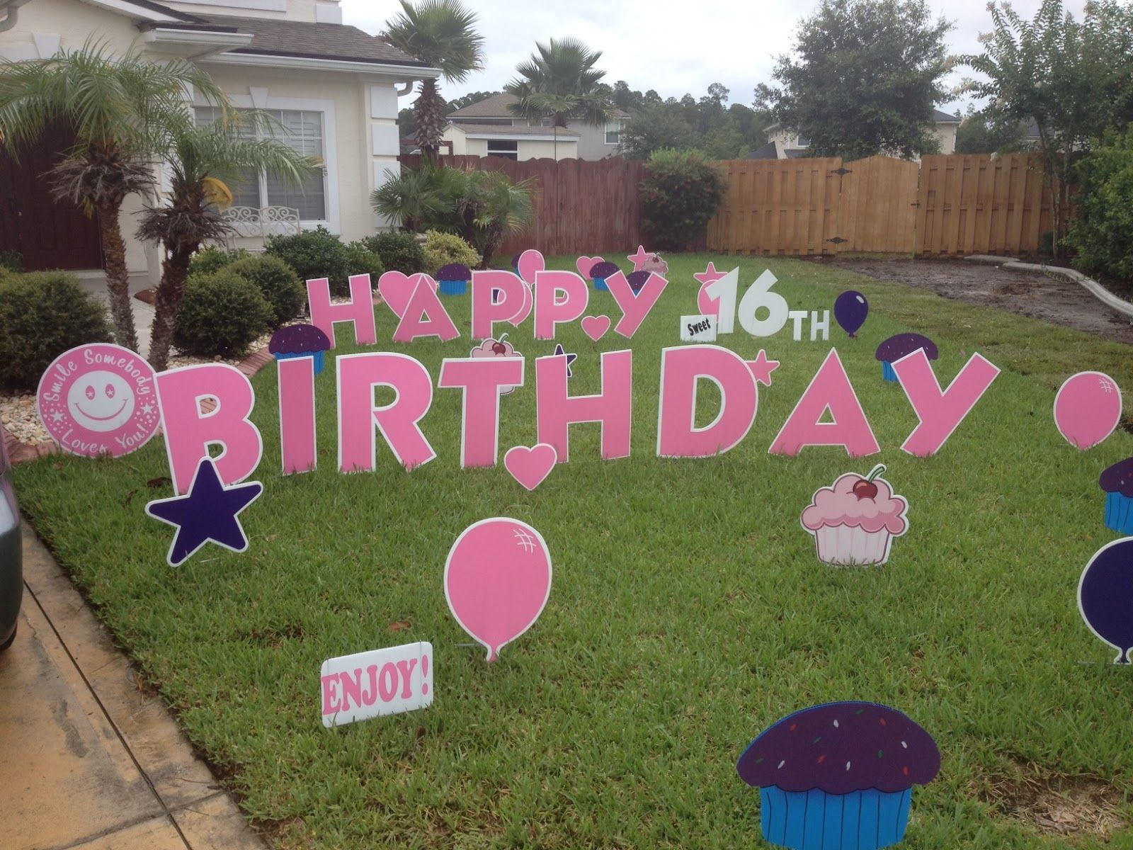 birthday cake yard sign Posted by Big Yard Card at 239 PM HaPpY