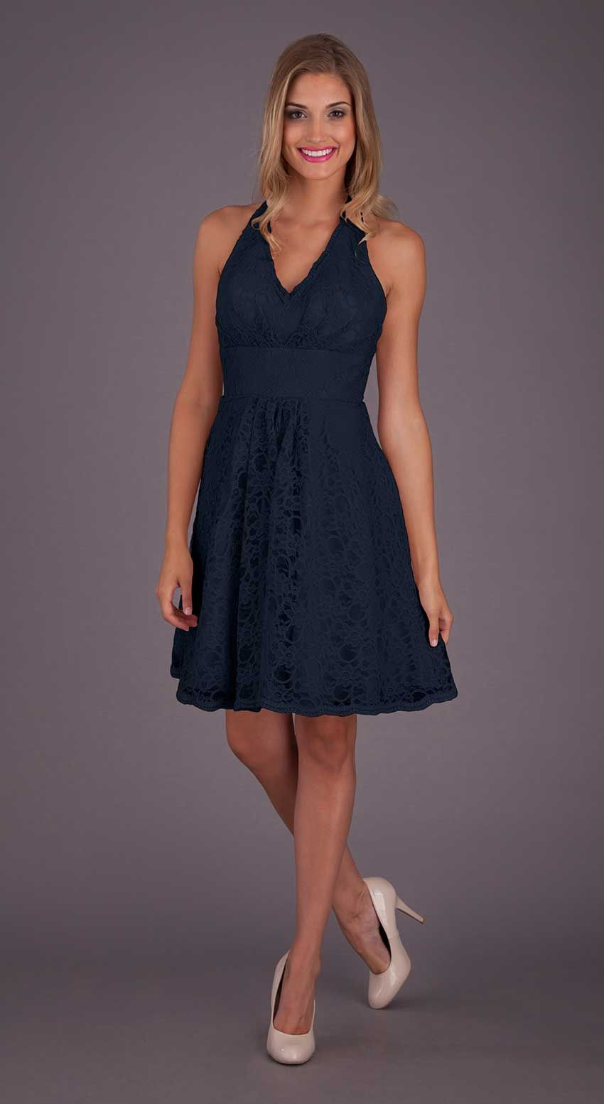 Lace dress navy  A short and sweet navy lace bridesmaid dress that your umaids will