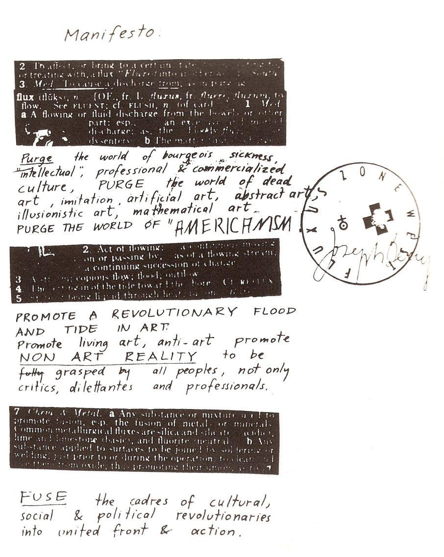 fluxus manifesto: living art, anti-art, non art | Fluxus, Manifesto, Art