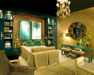 Teal And Gold Bedroom So Luxurious