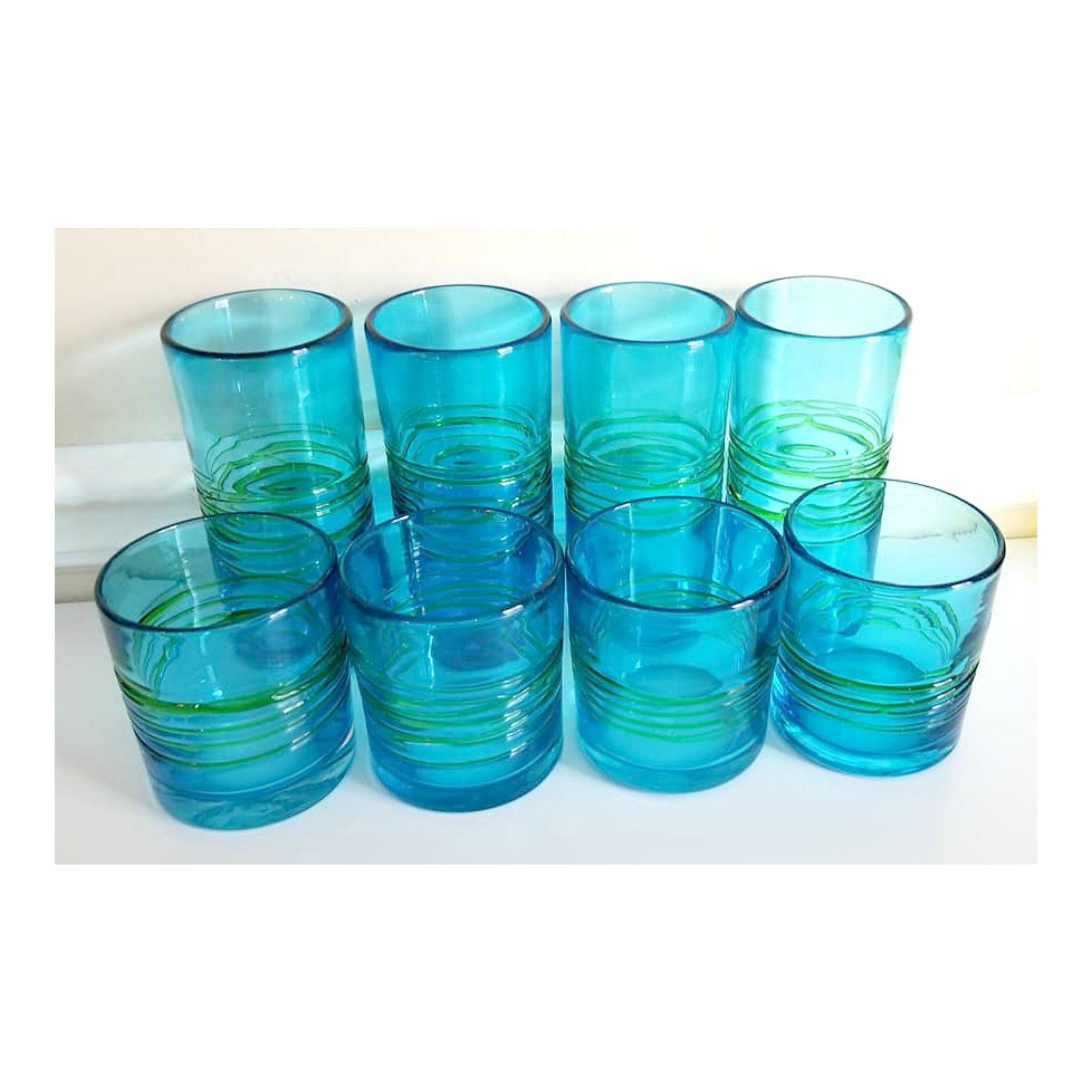 Vintage handblown 3 blue /& turquoise handblown shot glass Mexico