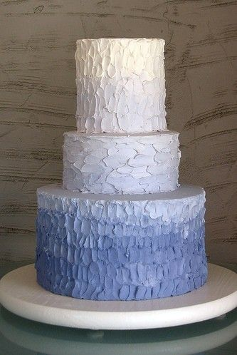 Blue Rustic Iced Ombre Cake Frosting Technique