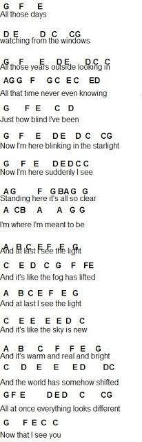 I See The Light Piano Letters Disney Flute Sheet Music