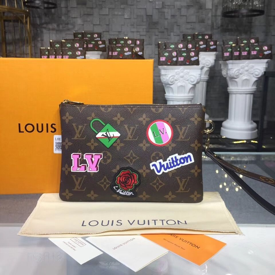 571fc5d33dd13e Buy online for cheap, USD 182, a Louis Vuitton Monogram Canvas City Pouch  with Patches M63447. Free International Shipping to your door by courier.