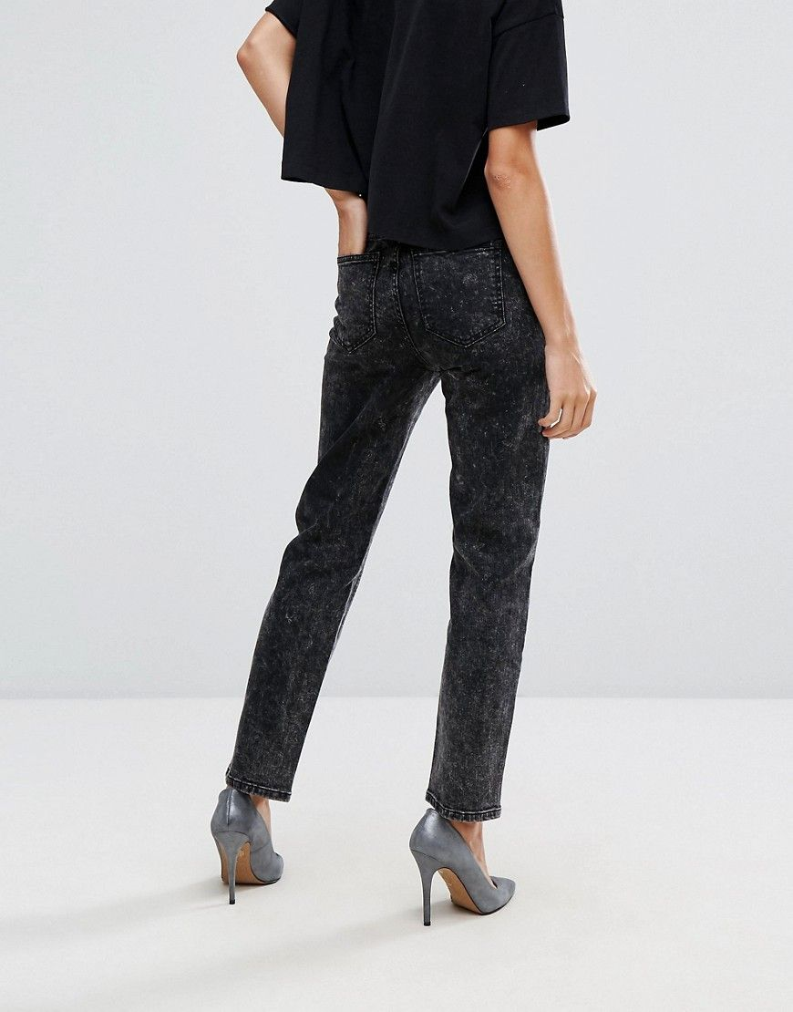 Jean High Rise Edie pierna recta Dr Black Denim xnSq44