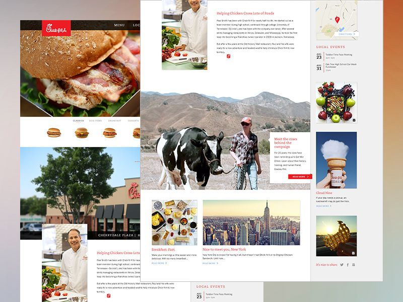 Our team was tasked with creating a few fresh concepts for Chick-fil-a's homepage. The goal was to serve up engaging content while still placing emphasis on the product (delicious chicken). Here's ...