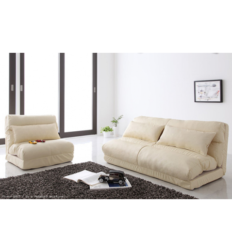 FLEXI FUTON Foldable Adjustable Futon Sofa Bed SINGLE IVORY
