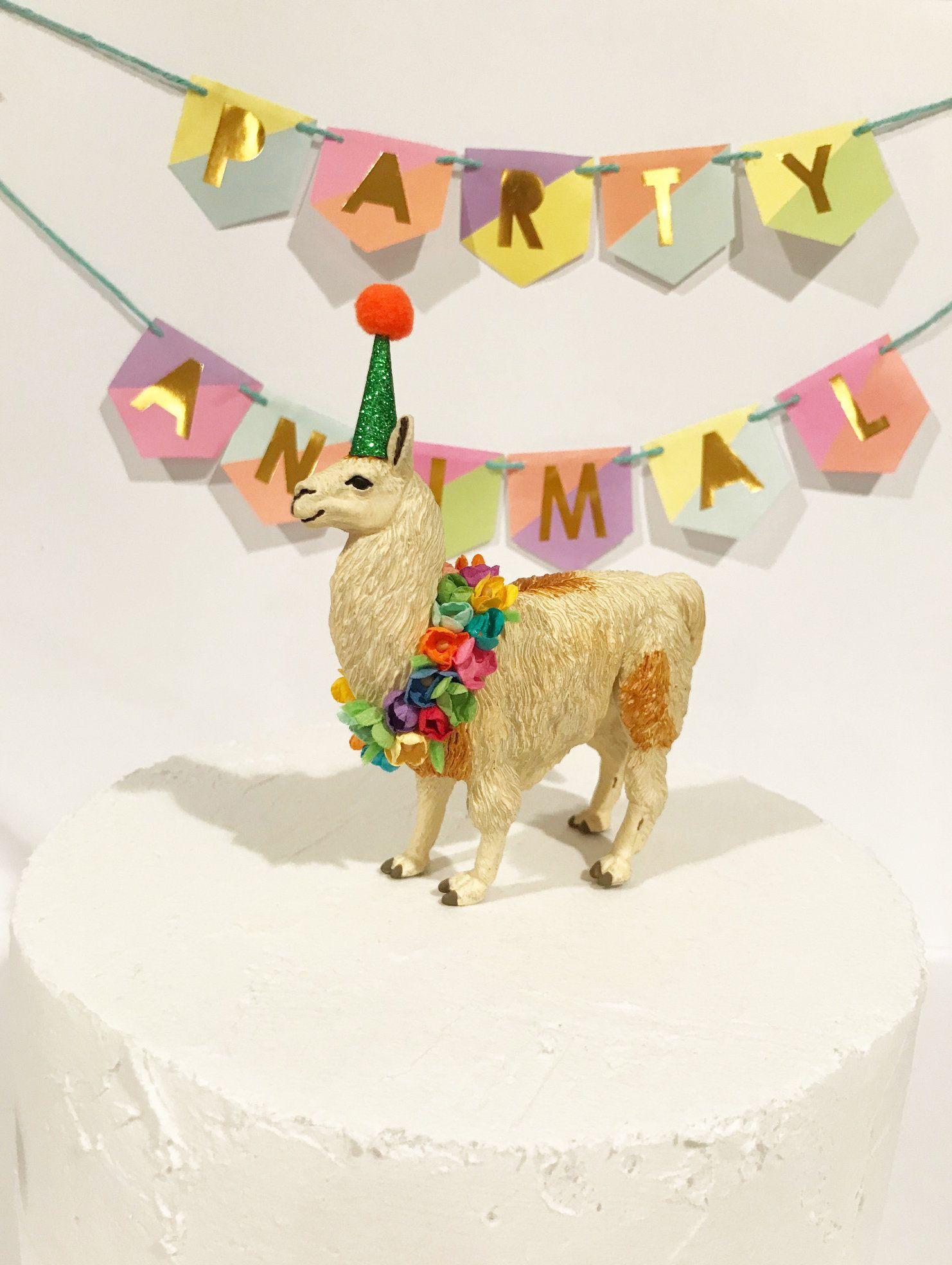 Birthday llama cake topper party animal cake topper