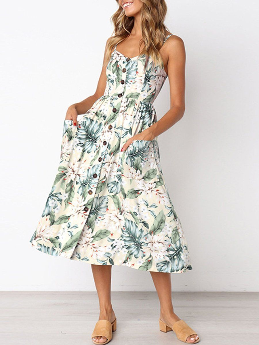 UK Women Strappy Maxi Dress Summer Holiday Floral Stripe Swing Dresses Plus Size