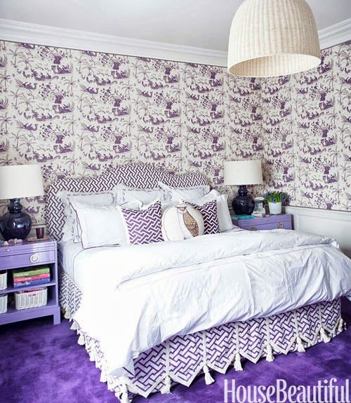 Purple and white girl's room - China Seas Tableau wallpaper and China Seas Aga fabric for the headboard and bed skirt.
