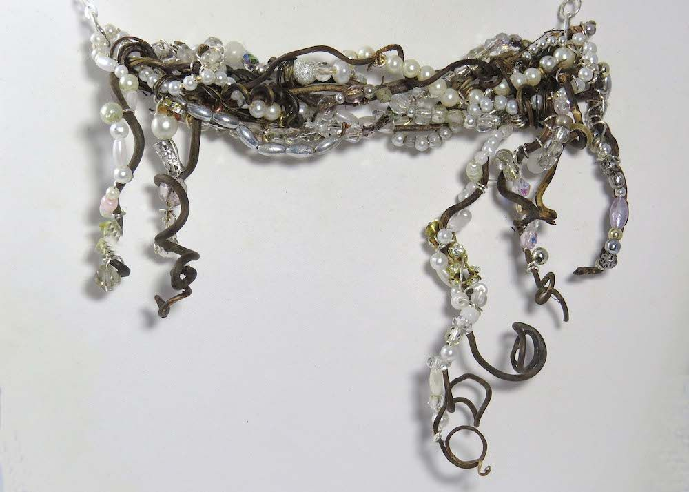 Snow necklace of honeysuckle vines frosted with pearls and crystals. $139
