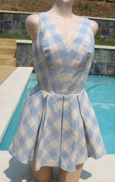 d99c71ed96 Vintage 60 s Brigance for Sinclair Light Blue Plaid Playsuit Bathing Suit