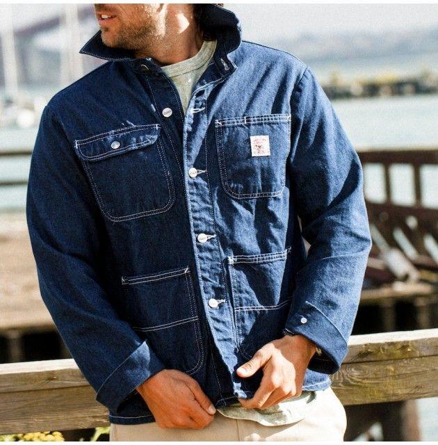 Washed Denim Chore Coat - Outerwear - Men's