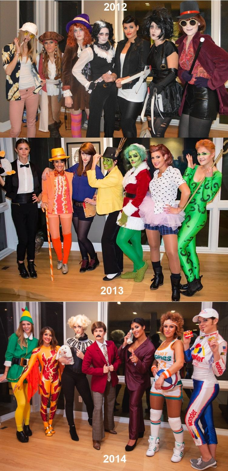 my girl friends and i did it again best group costume three years in a row we went full on ferrell this halloween side by side of 2012 2013 and 2014 - Halloween Costumes Three Girls