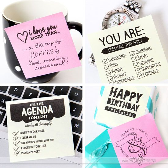 printable love sticky notes for him or her | note, house and free