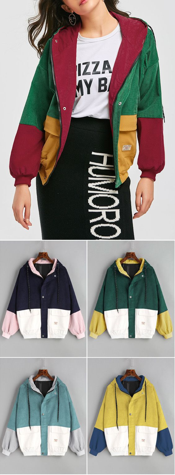 108f48a47 Hooded Color Block Corduroy Jacket | ZAFUL CLOTHING | Pink corduroy ...