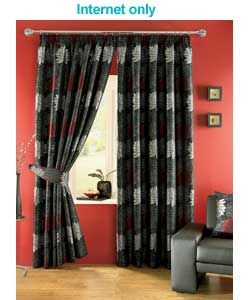 3 Layer Modern Black Burgundy Red Flock Satin Curtain Set And Window Curtains Blinds Shades