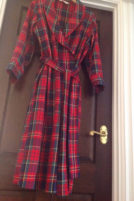 SOLD Vintage Red Tartan Dressing Gown Size Small UK 8-10 | Sold ...